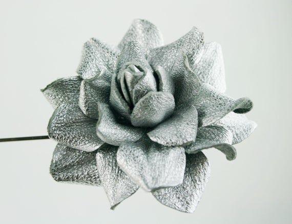 aae6db75575d9 Silver Leather Rose Flower Men's Lapel Pin. Rose Flower Brooch ...