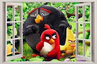 #Angry birds movie 3d #window view decal wall sticker art #mural 2 h570,  View more on the LINK: 	http://www.zeppy.io/product/gb/2/142078903603/