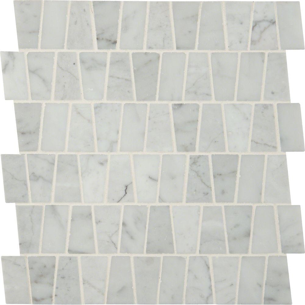 Ms International Carrara White Trapezoid Pattern 12 In X 12 In X 10 Mm Polished Marble Mesh Mounted Mo Mosaic Flooring Marble Mosaic Tiles Glass Mosaic Tiles