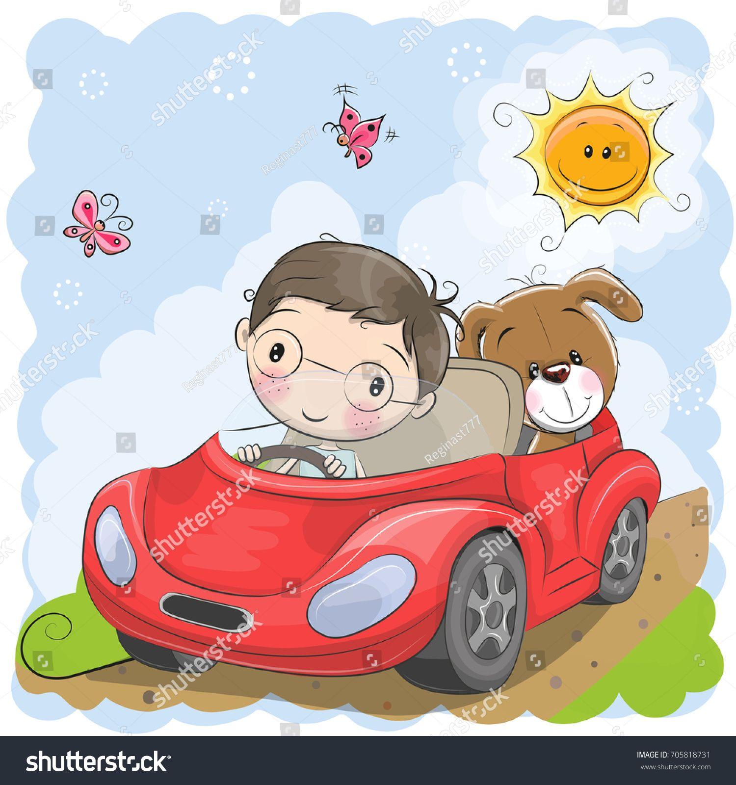 Cute Cartoon Boy Goes On A Car Con Imagenes Historieta