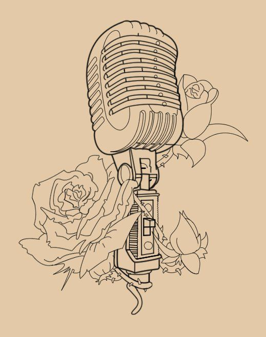 Beautiful Vintage microphone with roses, deffo getting this, just not sure on placement...