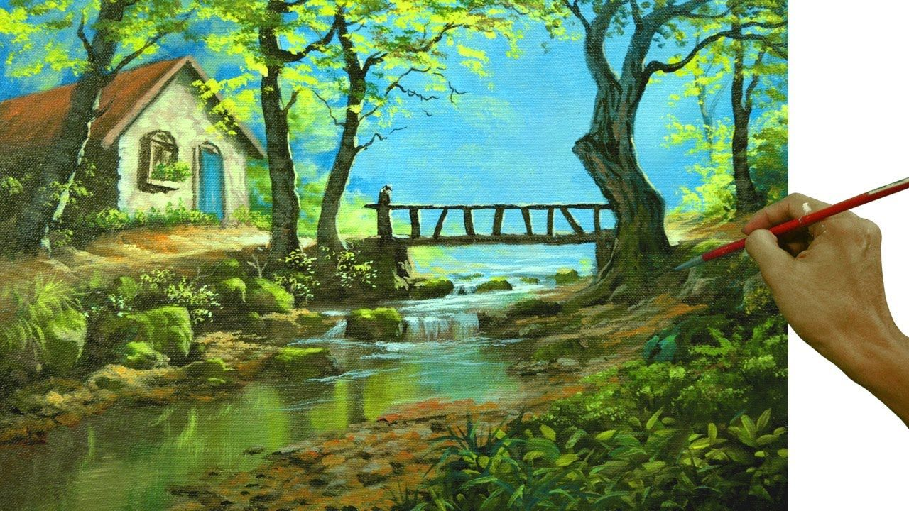 Acrylic Landscape Painting Tutorial Cabin Bridge And River By Jm Lisondra Youtub Landscape Painting Lesson Landscape Painting Tutorial Landscape Paintings