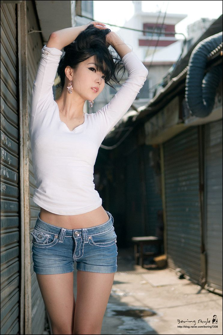 Asian chick in jeans