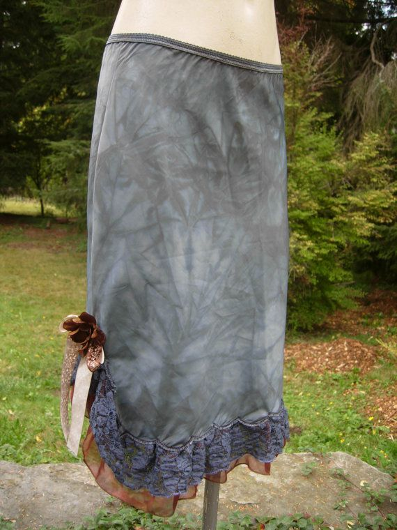 Dusty Blue Slip Skirt with Brown Flowers and Ruffles by getjuliet, $40.00