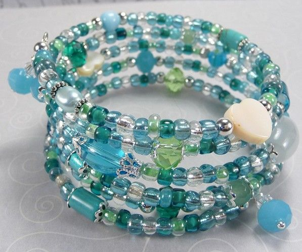 'Aqua and Teal Wrap Bracelet' is going up for auction at 5pm Thu, Aug 9 with a starting bid of $10.