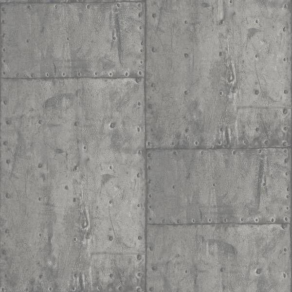 Dutch wallcoverings exposed metaal grijs pe04048 metaal for Industrieel behang