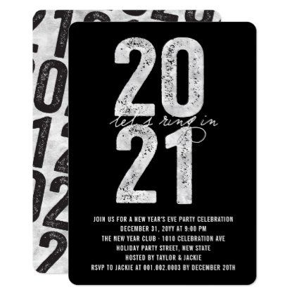 Silver 2021 Ring In The New Year Eve Holiday Party Invitation | Zazzle.com | Holiday party ...