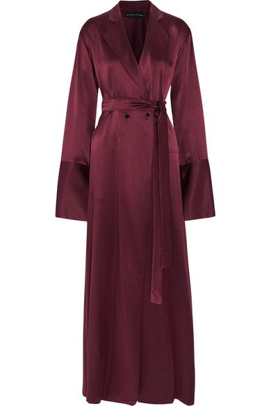 Burgundy silk-satin Button fastenings at double-breasted front 100% silk Dry clean Designer color: Bordeaux
