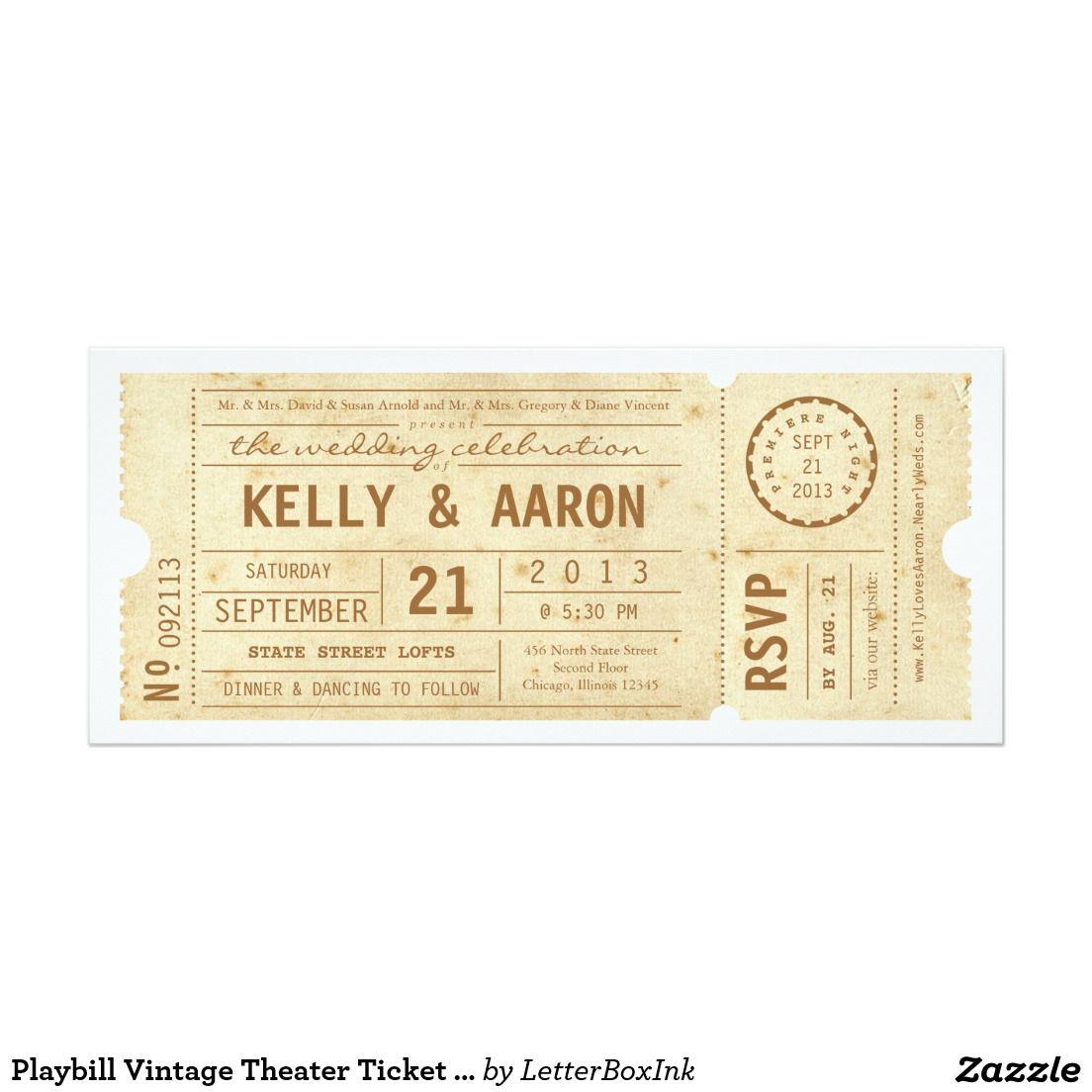 Playbill Vintage Theater Ticket Wedding Invitation   Weddings ...