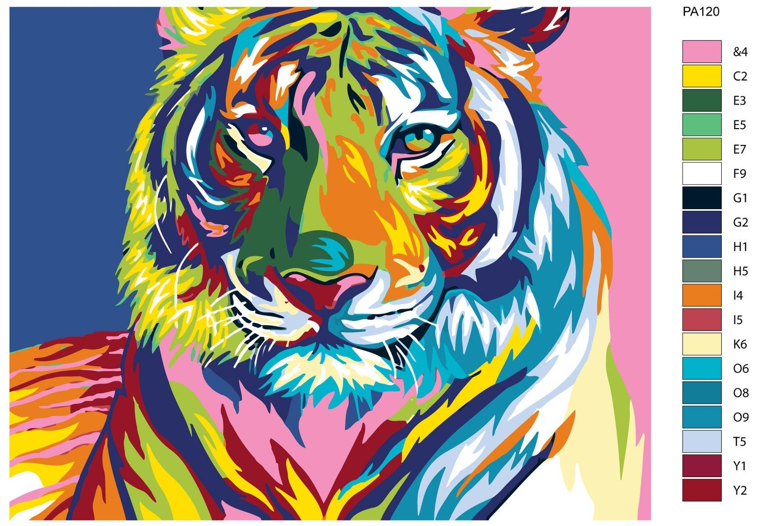 Colorful tiger painting by numbers colorful tiger wall art