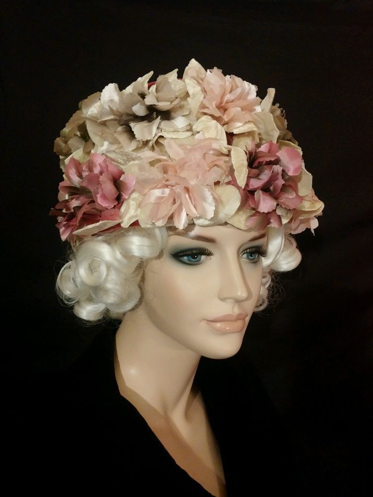 84cb65c54a350 Details about Vintage 1960s Taupe Feather Hat with Velvet Trim and ...