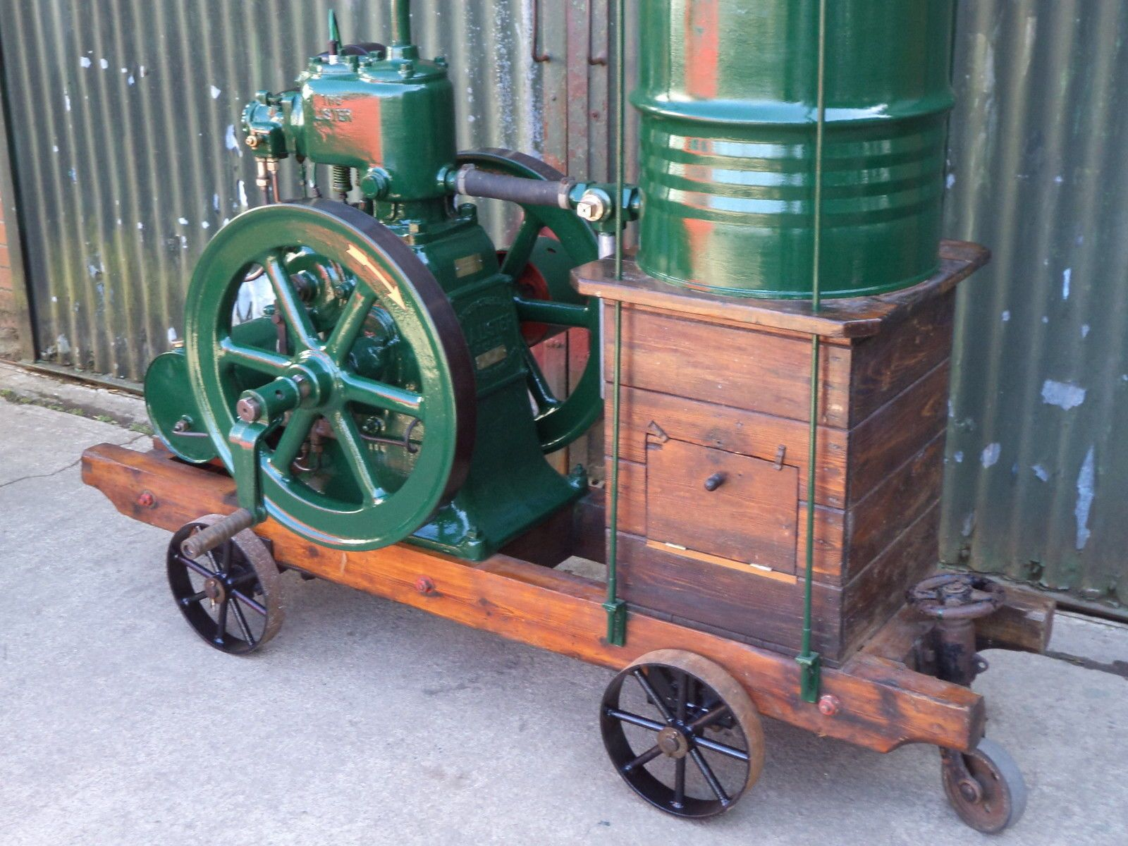 Lister j series 2.5 hp stationary engine.mounted on wooden