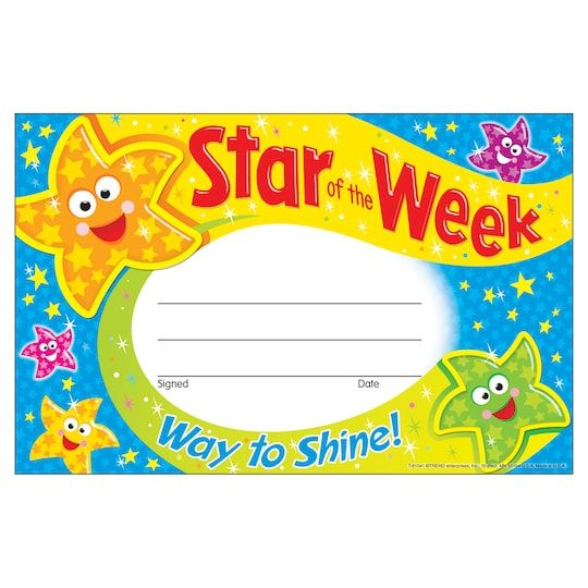 Hand out this star of the week award to a student who really shined! Students will feel like their hard work is paying off when they get noticed. Hand out this star of the week award to a student who really shined! Students will feel like their hard work is paying off when they get noticed. Colorful dancing stars cover the award, making it a great piece to display and show off. Details:Multicolored, 5.5