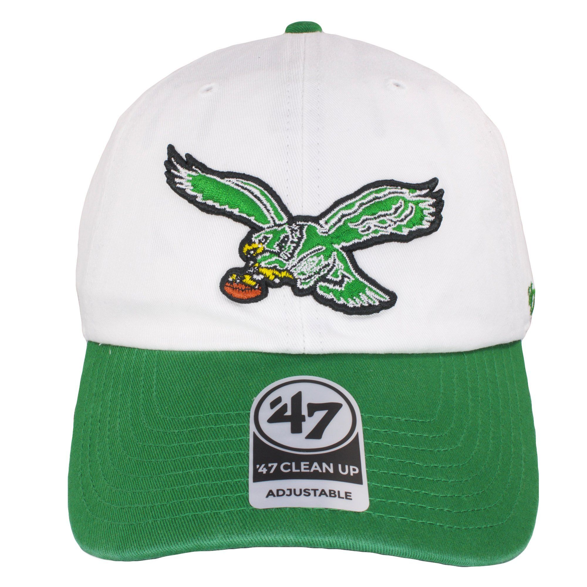 227f75c7ee47a Philadelphia Eagles Throwback Logo White on Kelly Green Dad Hat ...
