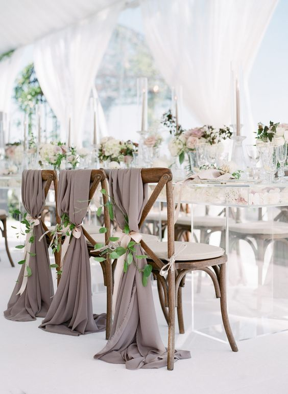 Need greenery and white bows for 80 farm chairs with white chiffon draping simil…