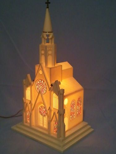 Vintage Raylite Electric Lighted Music Box Plastic Christmas Church Silent Night EBay