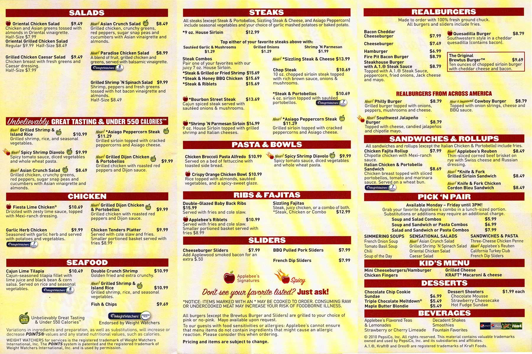 This is a photo of Candid Applebee's Printable Menu Pdf