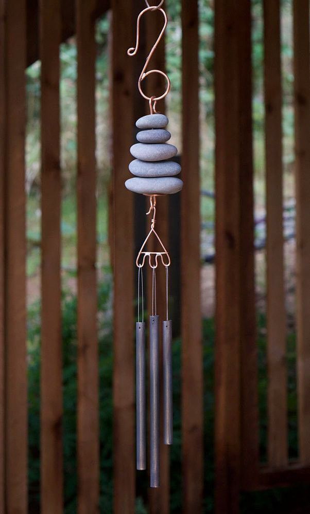 Wind Chime Natural Beach Stones with Antiqued Brass Chimes Handcrafted