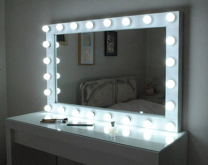 Super Sale Xxl Vanity Mirror 43 X27 Hollywood Makeup Mirror With Lights Perfect For Ikea Malm Vanity Bulbs Not Included Hollywood Vanity Mirror Diy Vanity Mirror Mirror With Lights Vanity mirror with lighted for sale