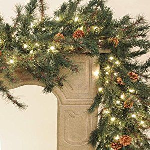 Emerald Pine Lighted Christmas Garland 9 Ft Rustic Christmas Decor