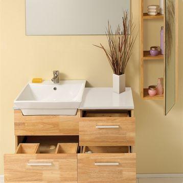 Caro moderno tocador de ba o en madera natural con espejo for Bajo gabinete tocador bano de madera