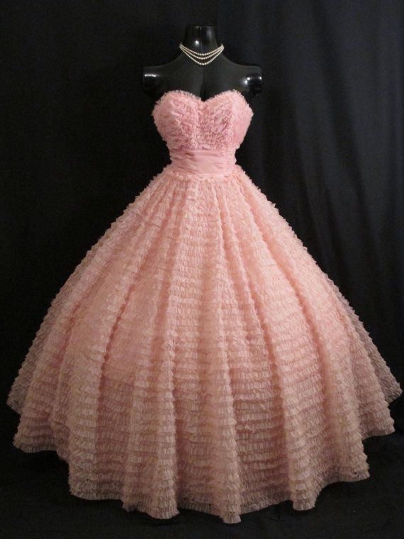 Vintage 1950s 50s Bombshell Strapless Pink by VintageVortex | Dress ...