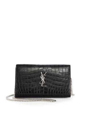 Medium Monogram Croc Embossed Leather Chain Wallet In Black Ysl Wallet On Chain Leather Chain Embossed Leather