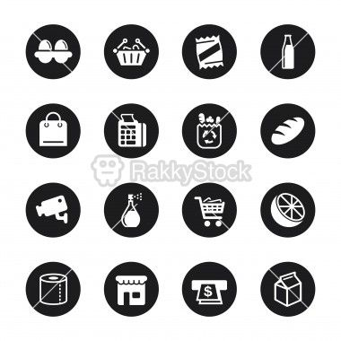 Supermarket Icons Black Circle Series Icon Set Communication Icon Restaurant Icon