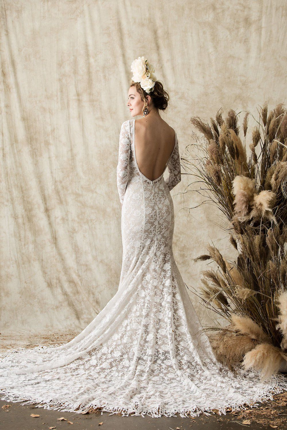 Offwhiteembroideredlaceweddingdresswithlongsleeves wedding