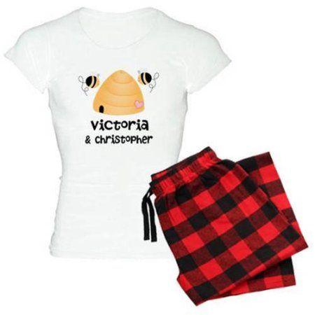 Cafepress Personalized Wedding Couple Honeybees Women's Light Pajamas, Size: 2XLarge (+$3.00), Red