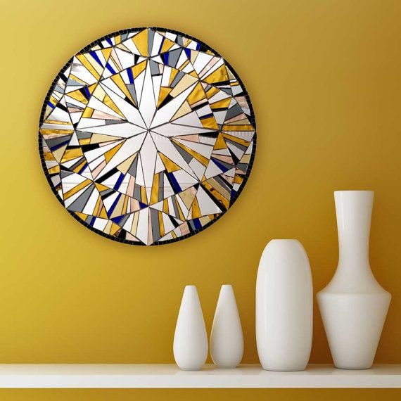 Yellow Wall Mirror, Round Wall Art, Modern Yellow Decor, Abstract ...