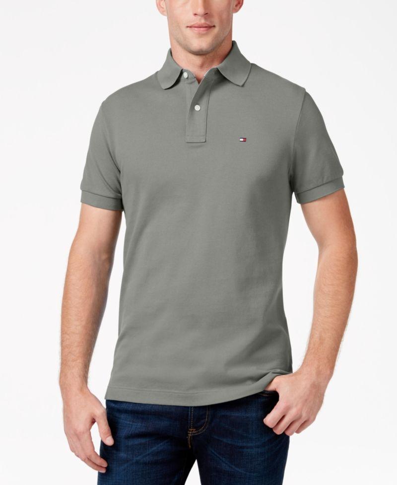 a0ea72e8d Tommy Hilfiger Men's Custom-Fit Ivy Polo - Gray XL