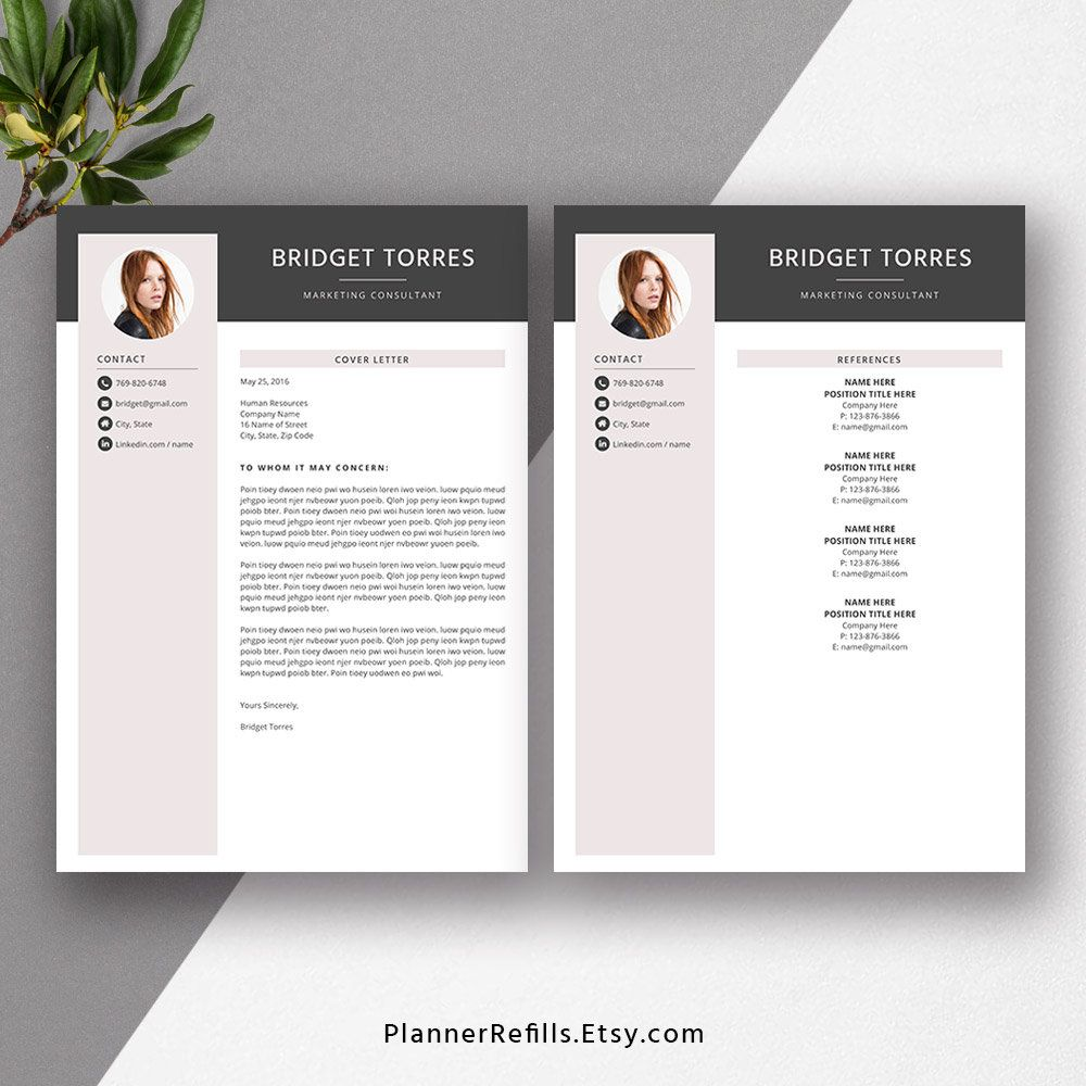 2019 Creative Resume Template Professional Cv Resume Word Etsy Resume Template