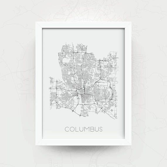 Columbus Ohio Map Print Black And White Columbus Artwork Wall