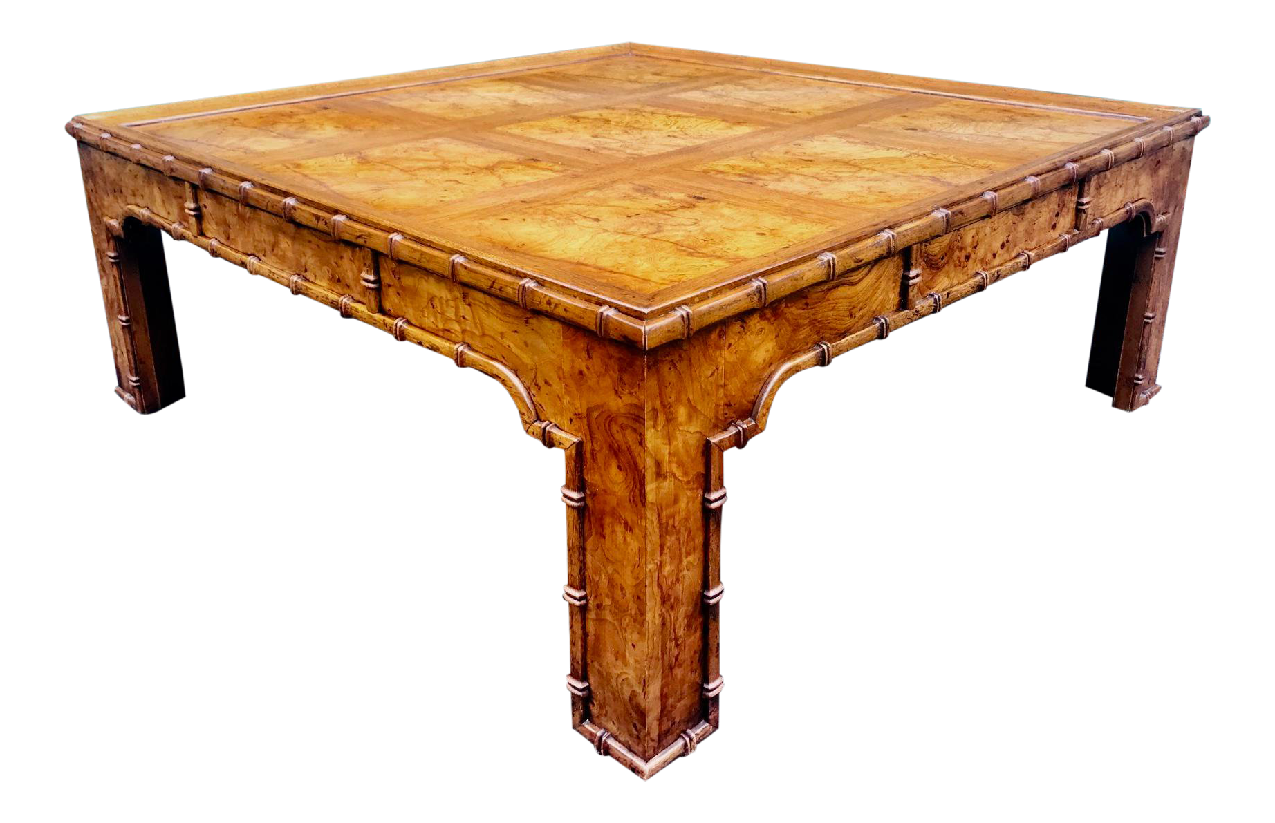 Vintage Burl Wood Square Faux Bamboo Coffee Table By Heritage On Chairish Com Coffee Table Bamboo Coffee Table Table