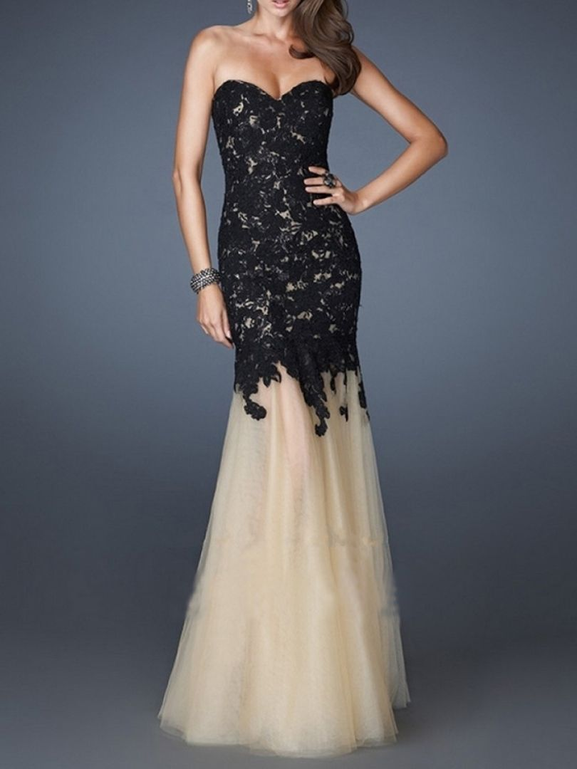 So pretty love this dress design black lace embroidery strapless