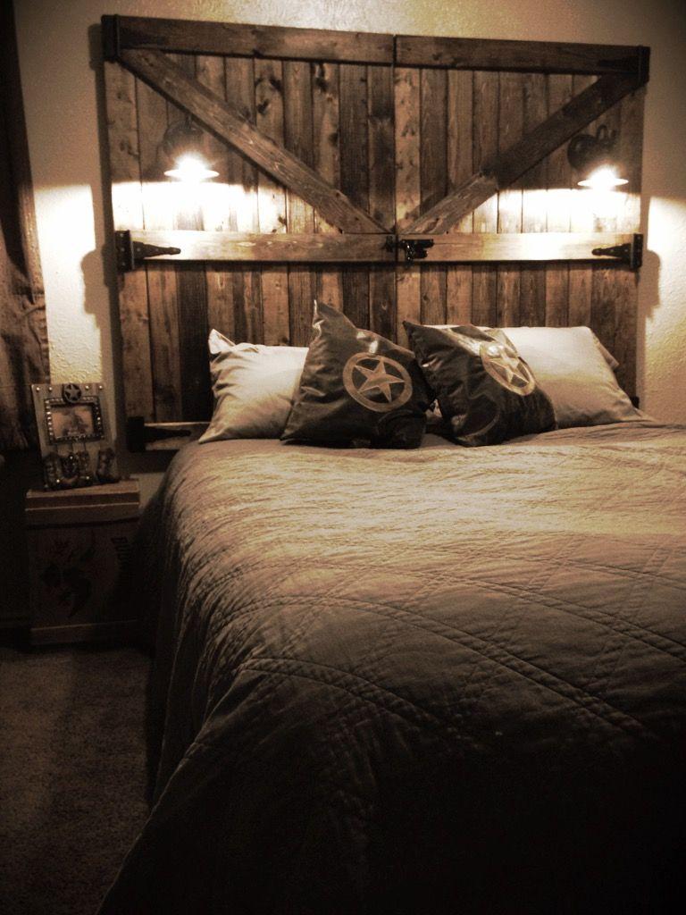Diy barn door headboard rustic bed heads pinterest barn door