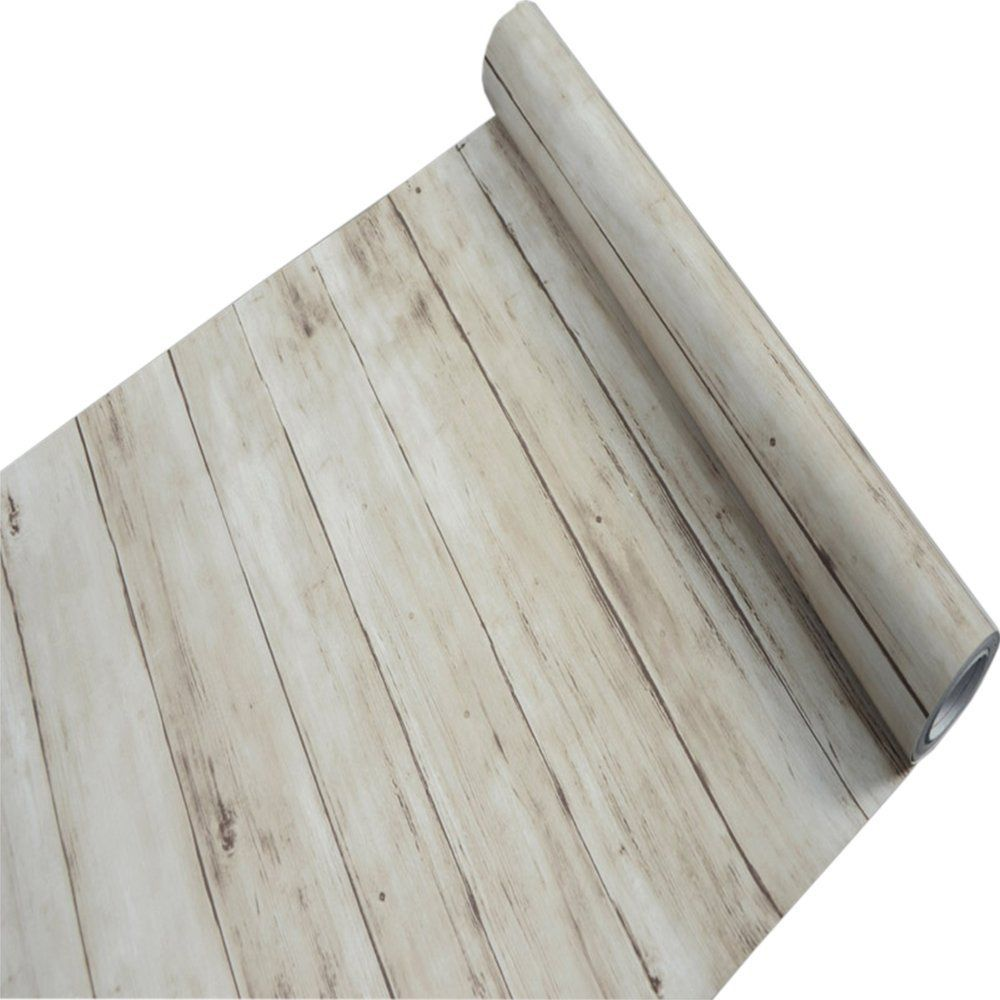 Light Brwon Rustic Wood Panel Contact Paper For Kitchen Cabinets