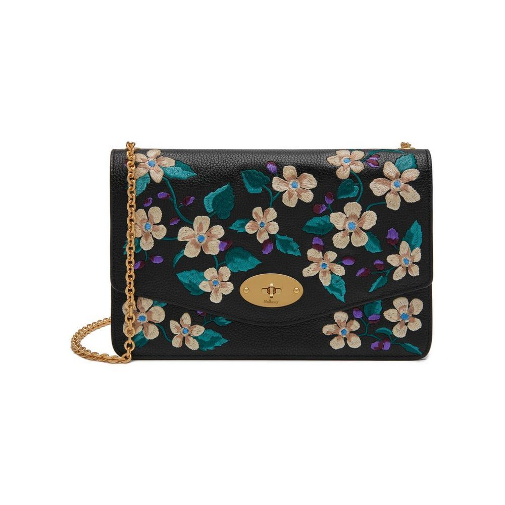 d258de5cf2 Shop the Darley in Black Flower Embroidered Black Leather at Mulberry.com.  A classic