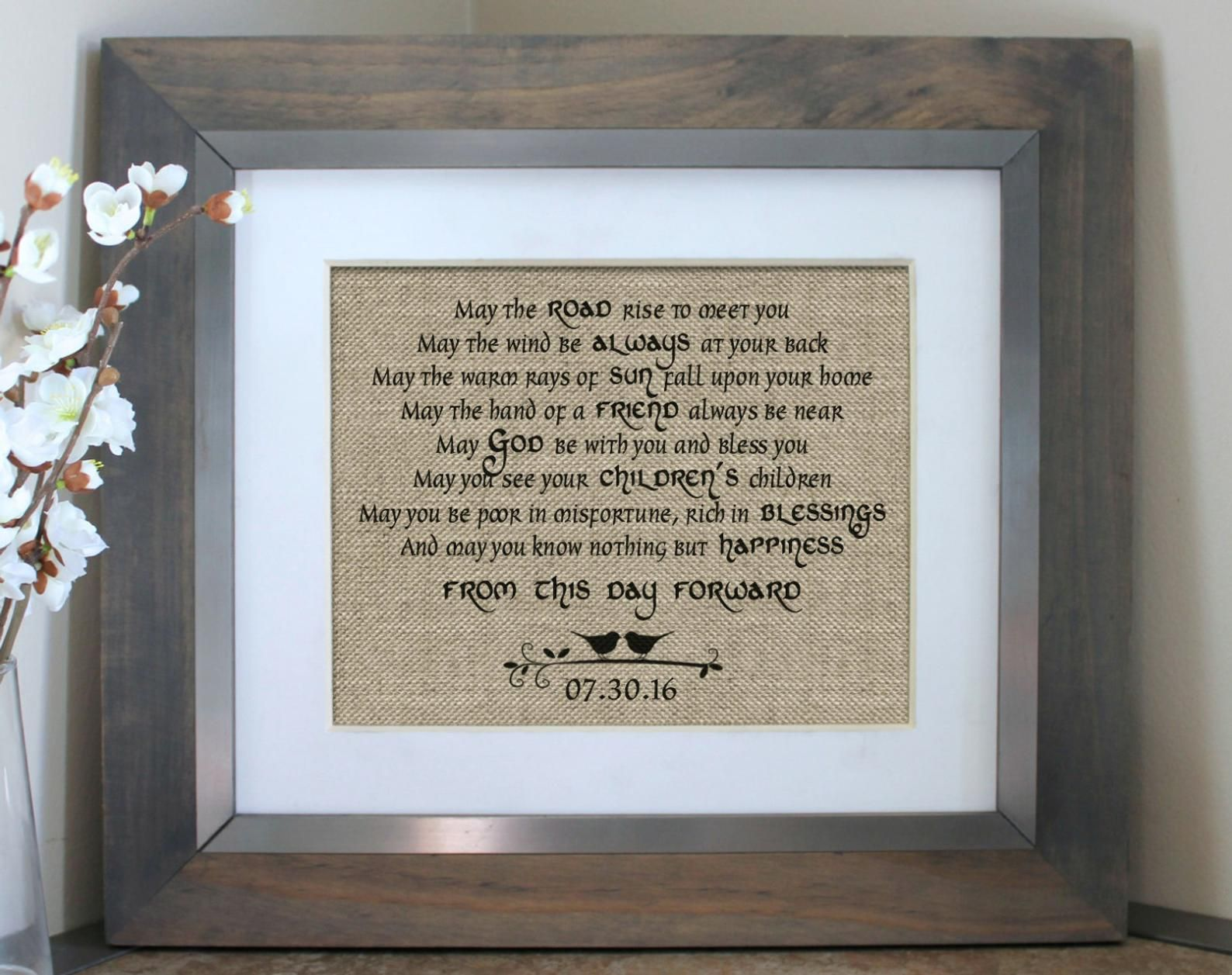 Irish Wedding Blessing Burlap Print Personalized Irish Etsy Wedding Gift Wife Irish Wedding Gifts Wedding Vows Gift