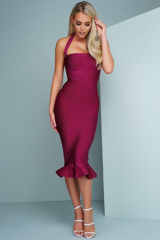 Herve leger · Theresa Mermaid Bandage Dress - Wine