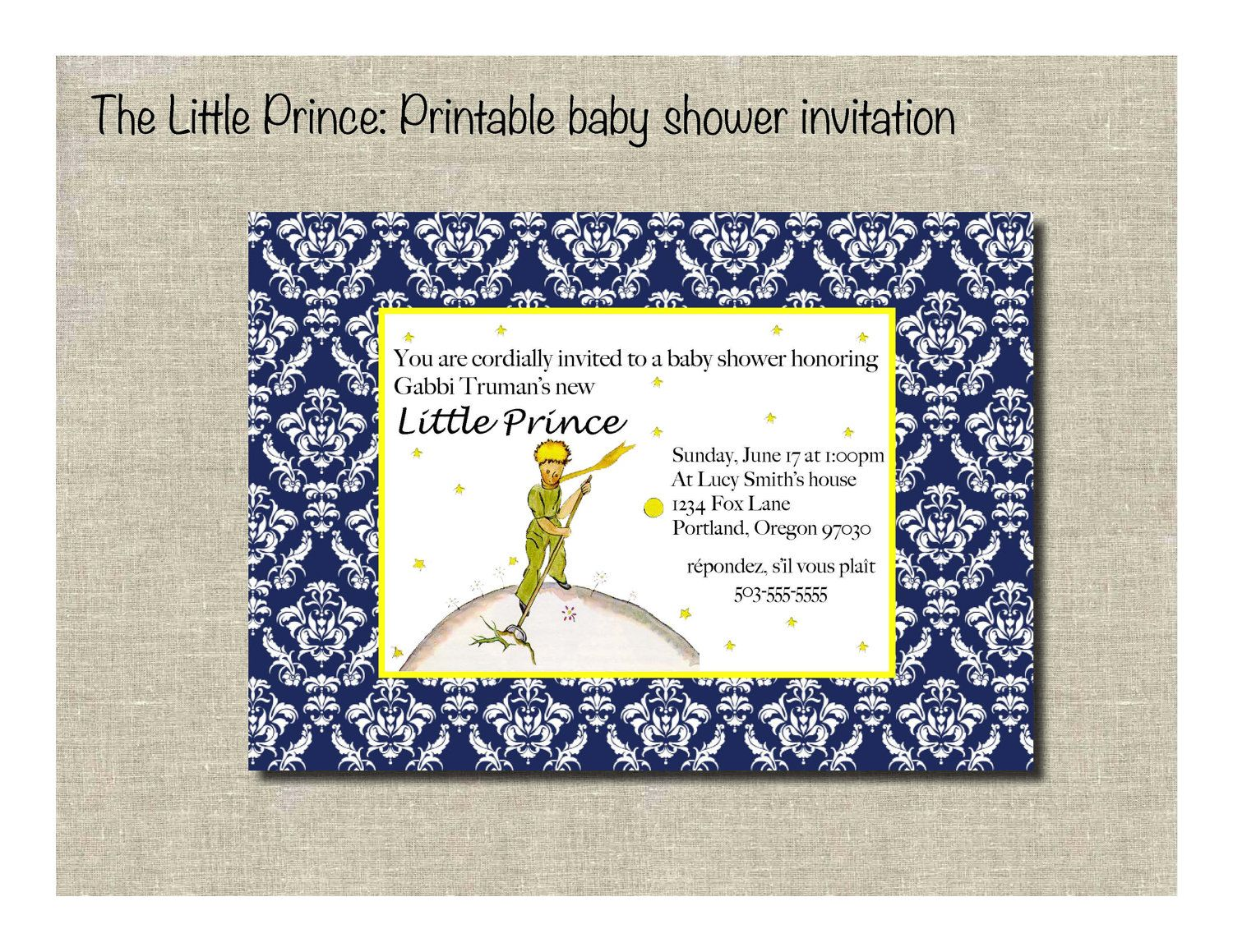 The Little Prince Printable baby shower invitation. $10.00, via Etsy ...