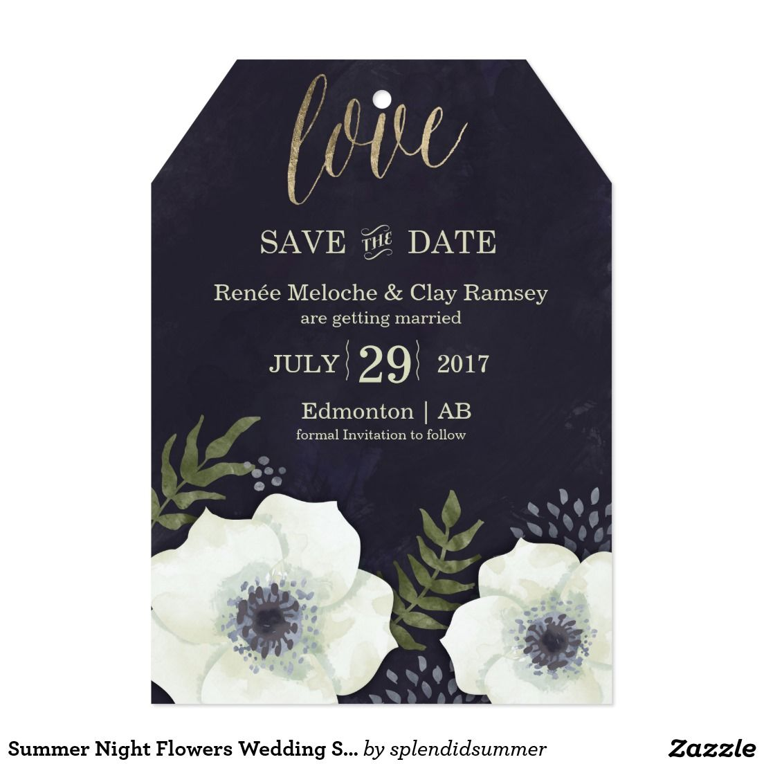 Superbe Summer Night Flowers Wedding Save The Date Card