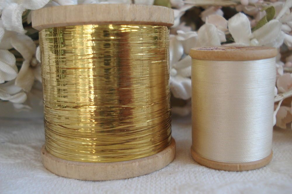 Wooden Spool of Vintage Pink Metallic Thread Flat  French
