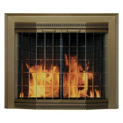 Pleasant Hearth Grandior Bay Medium Fireplace Doors Fireplace Doors Glass Fireplace Fireplace Glass Doors