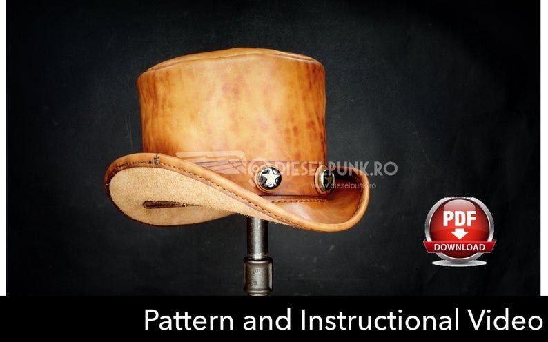 Top Hat Pattern Leather Diy Pdf Download Video Tutorial Etsy Leather Hat Pattern Leather Diy Hat Pattern