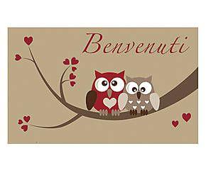 Zerbino in cocco Benvenuti rosso e beige - 45x75x2 cm