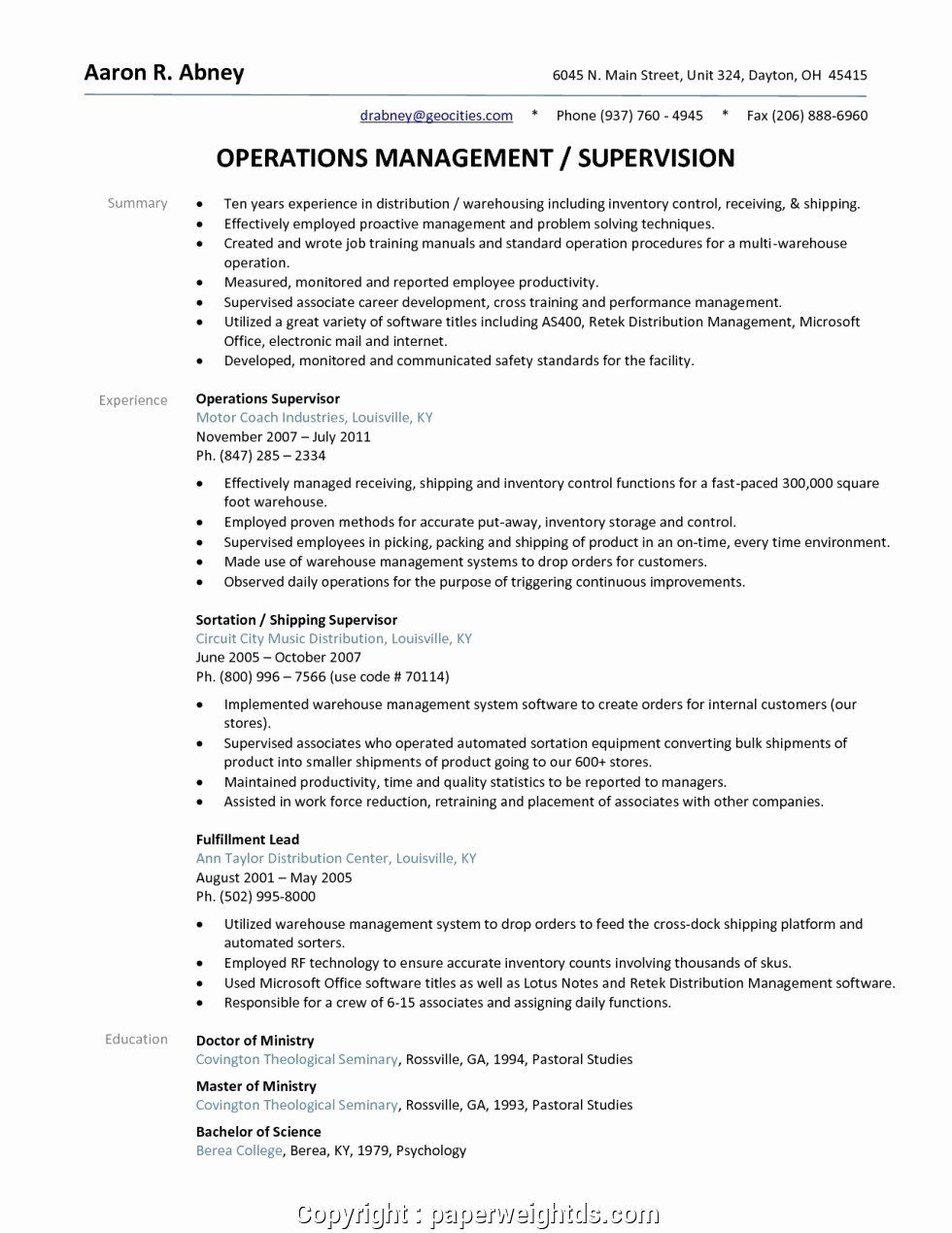 Warehouse Resume Objective Examples Awesome Unique Warehouse Supervisor Resume Objective Resum In 2020 Resume Objective Examples Job Resume Examples Job Resume Samples