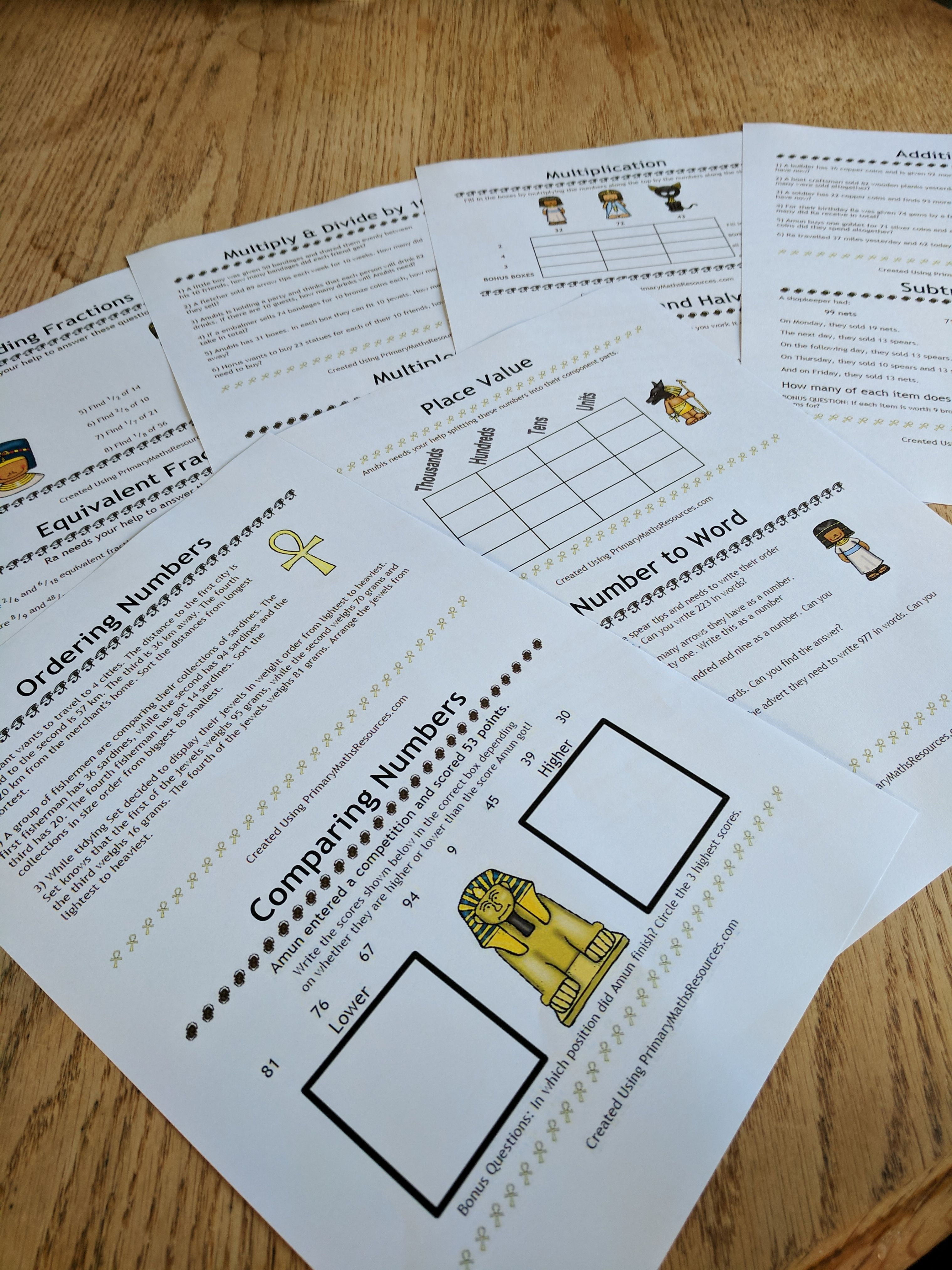 Ancient Egyptian Themed Maths Worksheets