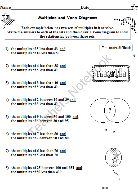 FACTORS AND MULTIPLES BUNDLE 12 WORKSHEETS * Your download of 18 ...
